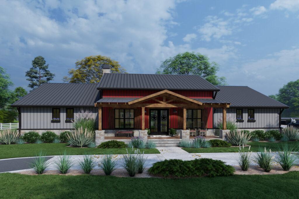 Rustic barndominium farmhouse plan 2486